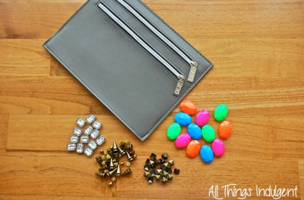 DIY Embellished Clutch materials