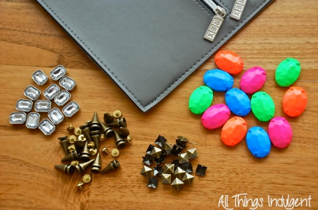 DIY Embellished Clutch materials closeup