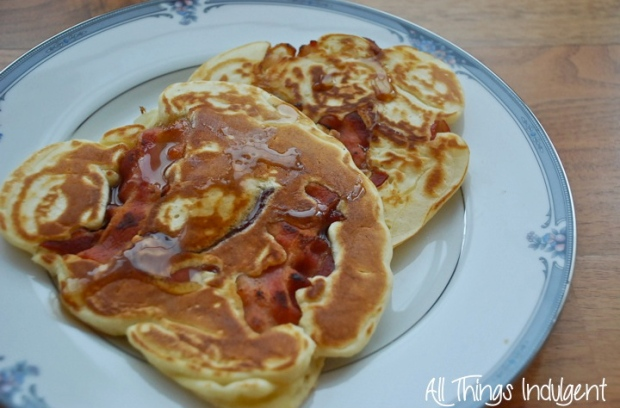 Homemade Bacon Pancakes Closeup