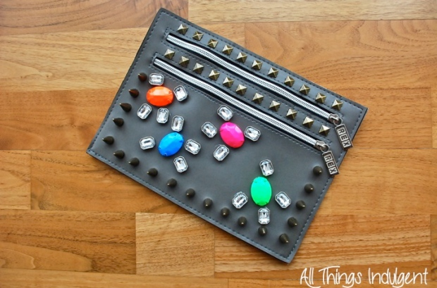 DIY Embellished Clutch finished project