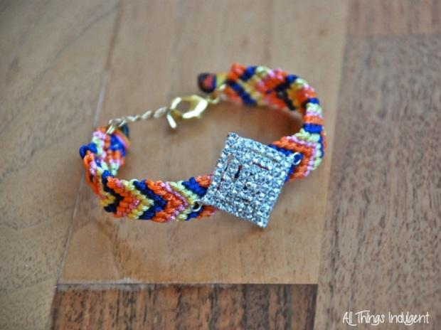 DIY Jewelled Friendship Bracelet Closeup