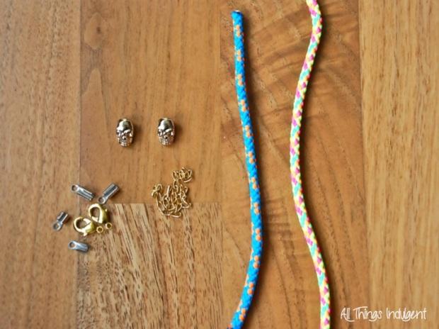 Neon Cord Bracelet Materials