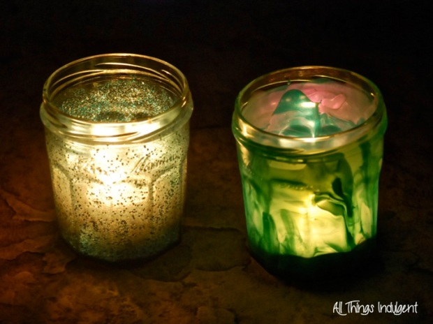 DIY Painted Jars with Candles