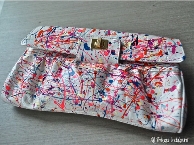 DIY Paint Spatter Clutch Upstyled