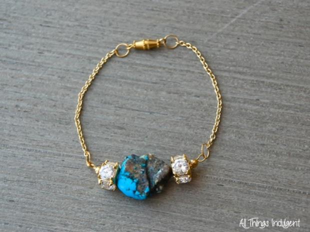 DIY Crystal & Turquoise Bracelet