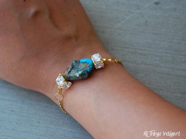 DIY Crystal & Turquoise Bracelet FInished