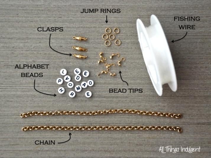 Alphabet Bracelet Materials