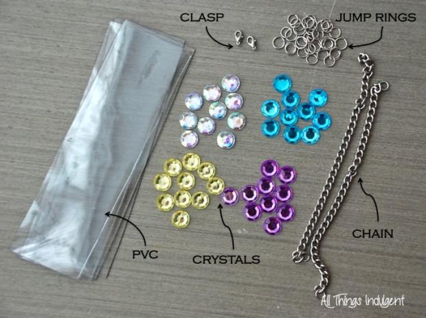 DIY Jewel Necklace materials