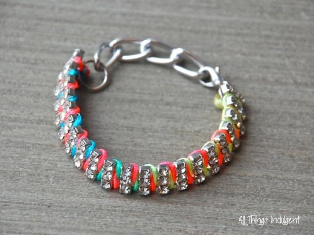 DIY Neon Rhinestone Bracelet